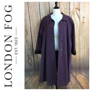 💸London Fog Plum colored lined trench coat sz 10